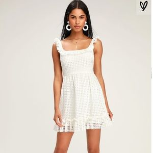 Lulu's White Eyelet Ruffled Mini Dress Size Small